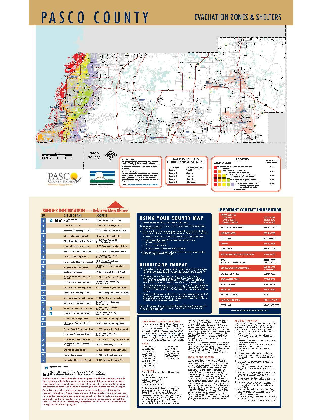 Pasco County Evacuation Zones & Shelters – City of Port Richey